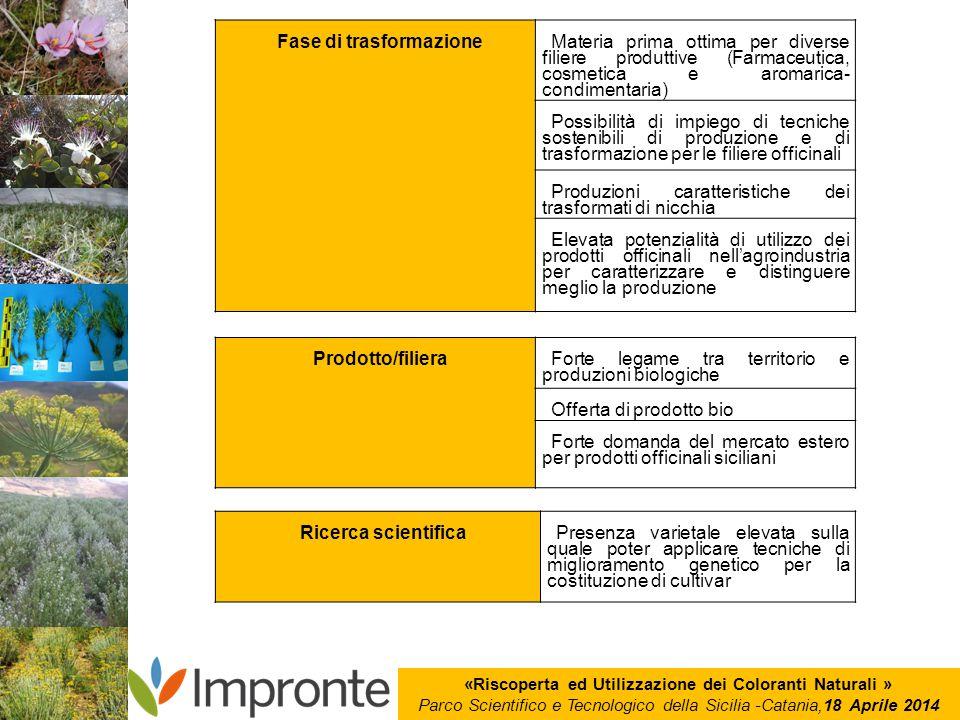 «Riscoperta ed Utilizzazione dei Coloranti Naturali » Parco Scientifico e Tecnologico della Sicilia -Catania,18 Aprile 2014 Fase di trasformazione Mat