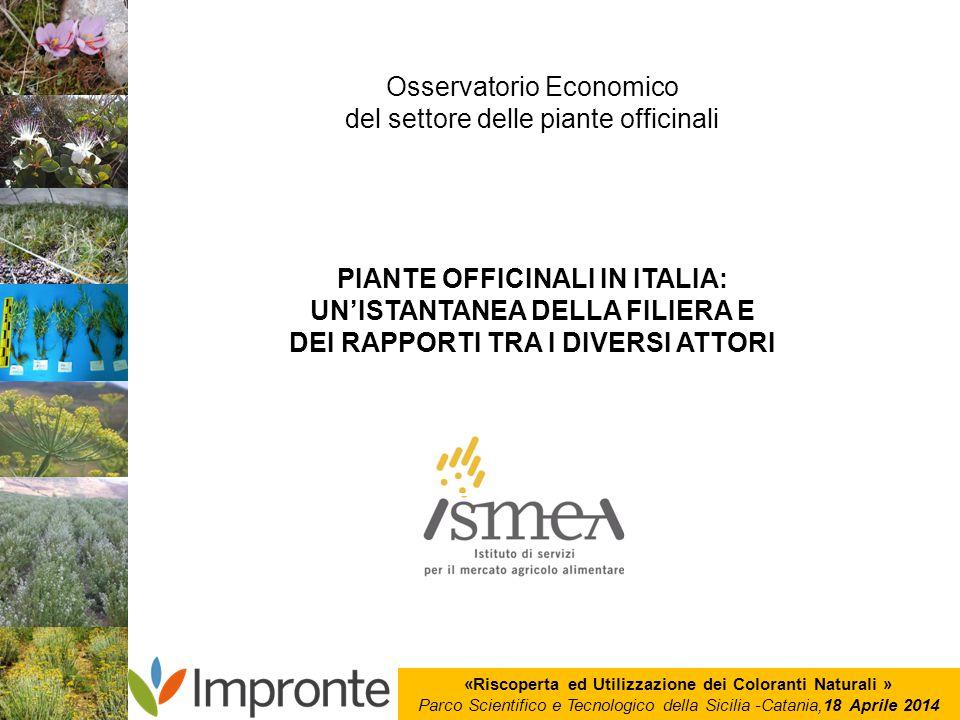 «Riscoperta ed Utilizzazione dei Coloranti Naturali » Parco Scientifico e Tecnologico della Sicilia -Catania,18 Aprile 2014 Osservatorio Economico del