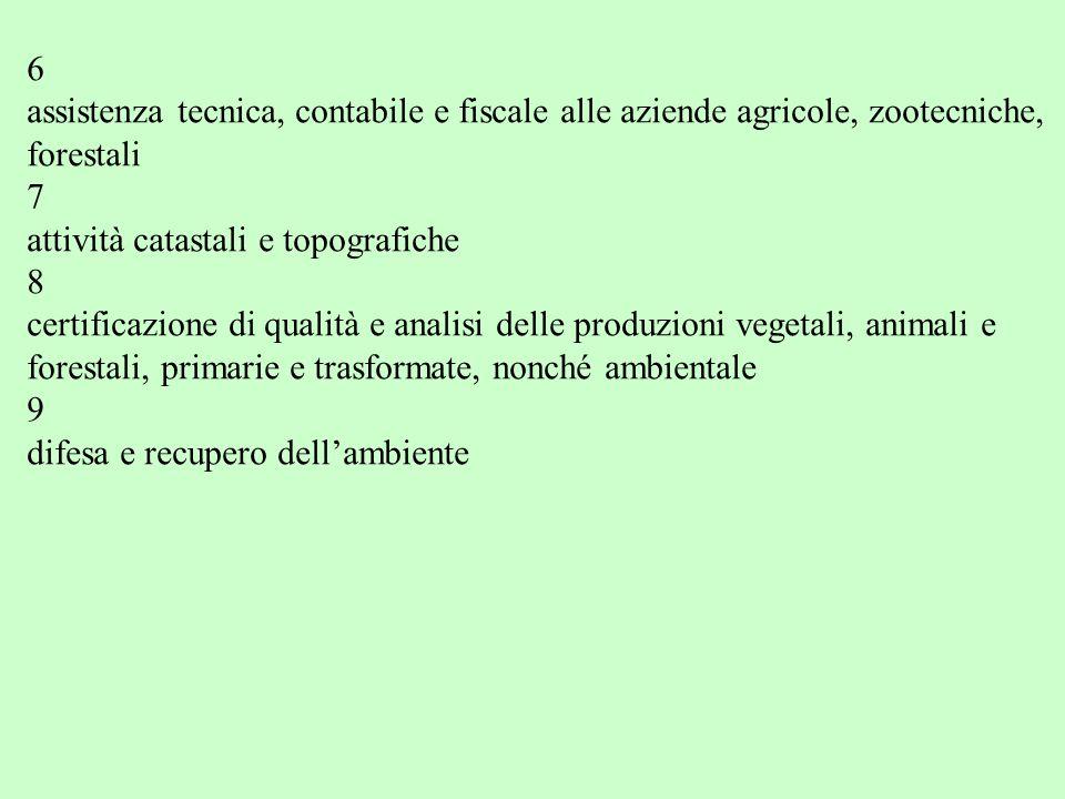 6 assistenza tecnica, contabile e fiscale alle aziende agricole, zootecniche, forestali 7 attività catastali e topografiche 8 certificazione di qualit