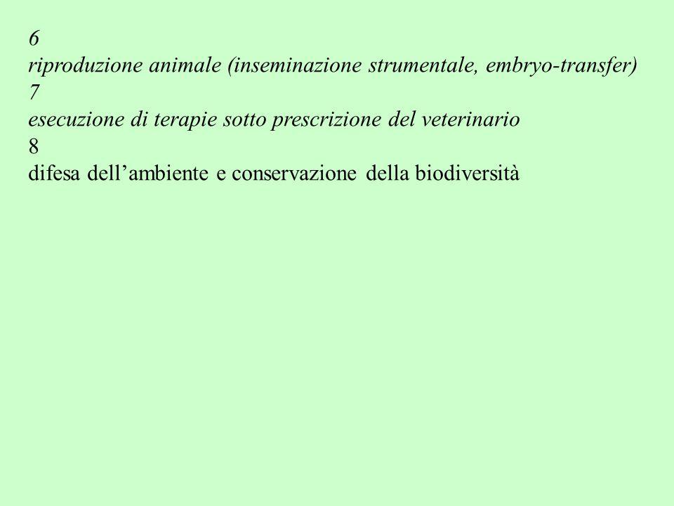 6 riproduzione animale (inseminazione strumentale, embryo-transfer) 7 esecuzione di terapie sotto prescrizione del veterinario 8 difesa dell'ambiente