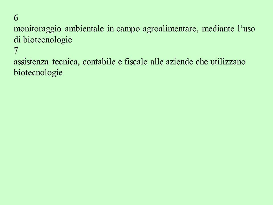 6 monitoraggio ambientale in campo agroalimentare, mediante l'uso di biotecnologie 7 assistenza tecnica, contabile e fiscale alle aziende che utilizzano biotecnologie