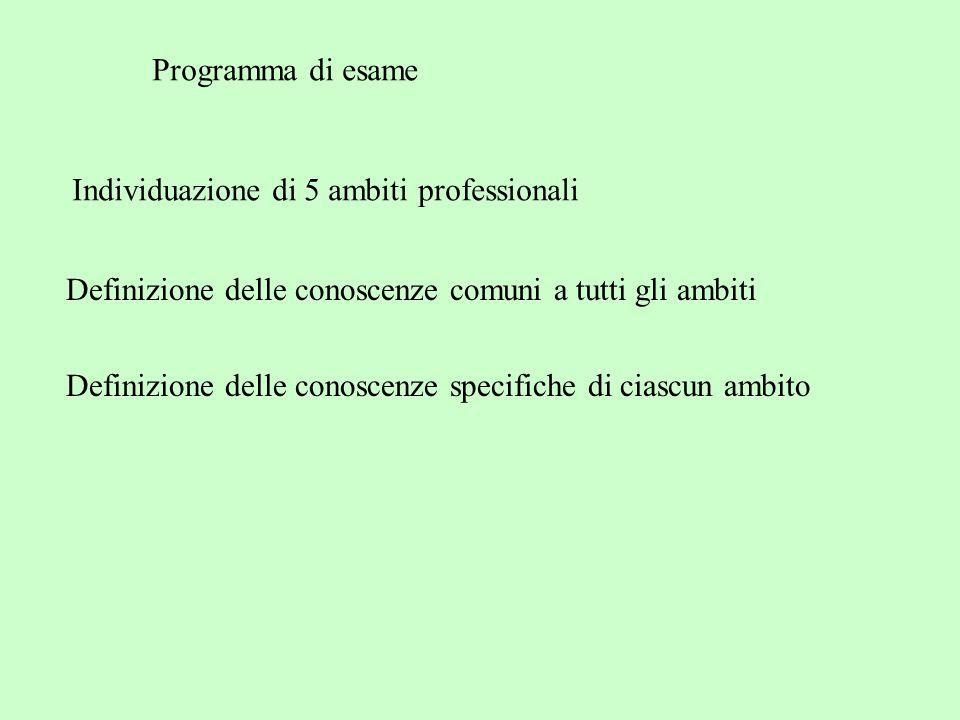 Programma di esame Individuazione di 5 ambiti professionali Definizione delle conoscenze specifiche di ciascun ambito Definizione delle conoscenze comuni a tutti gli ambiti