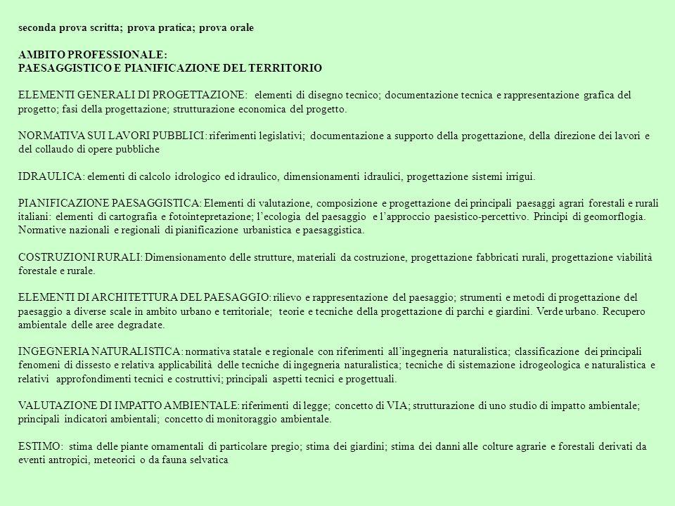 seconda prova scritta; prova pratica; prova orale AMBITO PROFESSIONALE: PAESAGGISTICO E PIANIFICAZIONE DEL TERRITORIO ELEMENTI GENERALI DI PROGETTAZIO