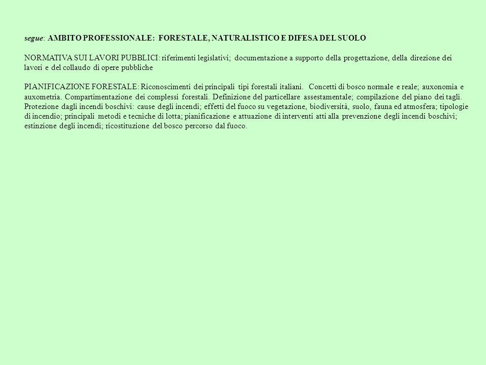 segue: AMBITO PROFESSIONALE: FORESTALE, NATURALISTICO E DIFESA DEL SUOLO NORMATIVA SUI LAVORI PUBBLICI: riferimenti legislativi; documentazione a supp