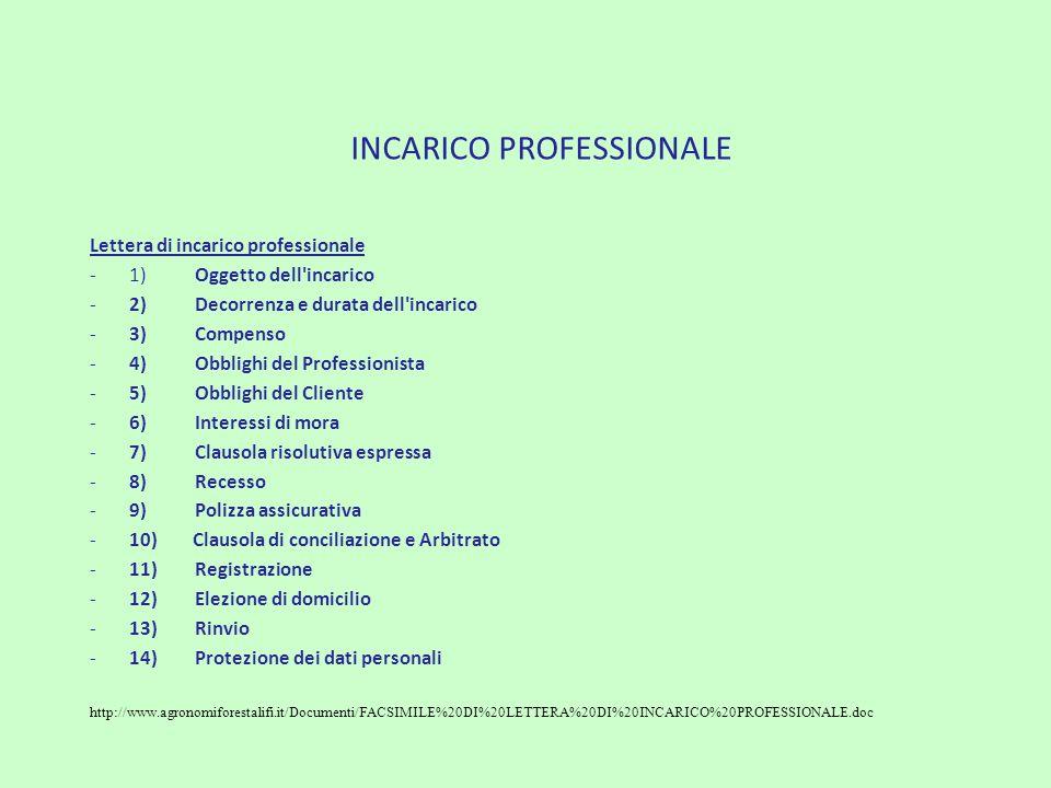 INCARICO PROFESSIONALE Lettera di incarico professionale -1)Oggetto dell'incarico -2)Decorrenza e durata dell'incarico -3) Compenso -4)Obblighi del Pr