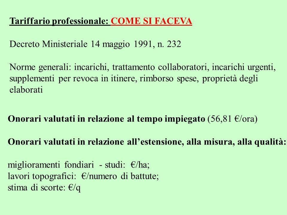 Tariffario professionale: COME SI FACEVA Decreto Ministeriale 14 maggio 1991, n. 232 Norme generali: incarichi, trattamento collaboratori, incarichi u