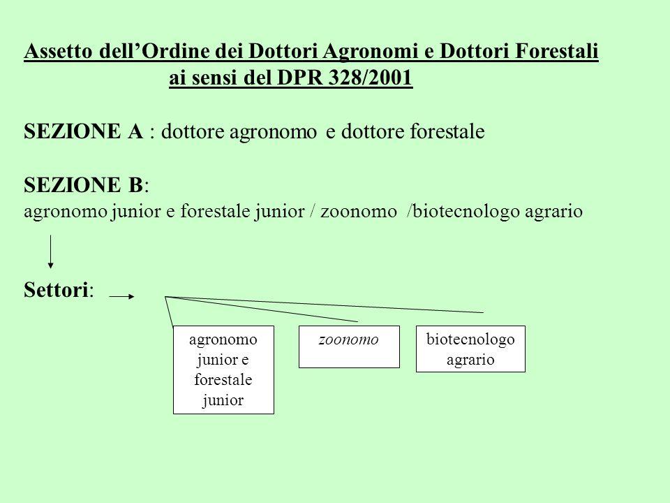 Assetto dell'Ordine dei Dottori Agronomi e Dottori Forestali ai sensi del DPR 328/2001 SEZIONE A : dottore agronomo e dottore forestale SEZIONE B: agronomo junior e forestale junior / zoonomo /biotecnologo agrario Settori: agronomo junior e forestale junior zoonomobiotecnologo agrario