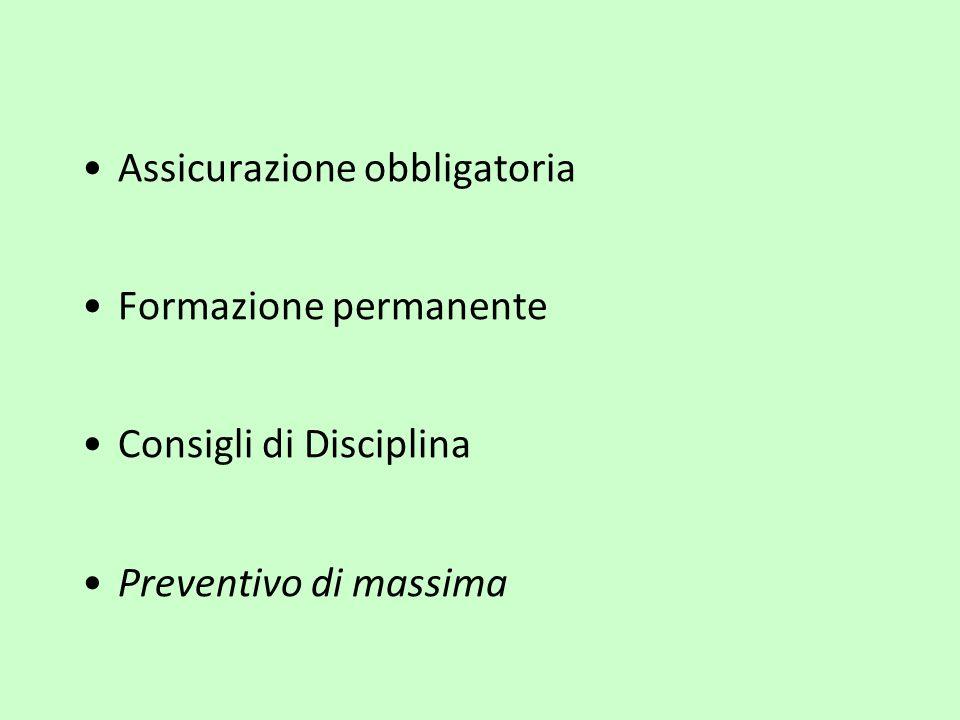 Assicurazione obbligatoria Formazione permanente Consigli di Disciplina Preventivo di massima