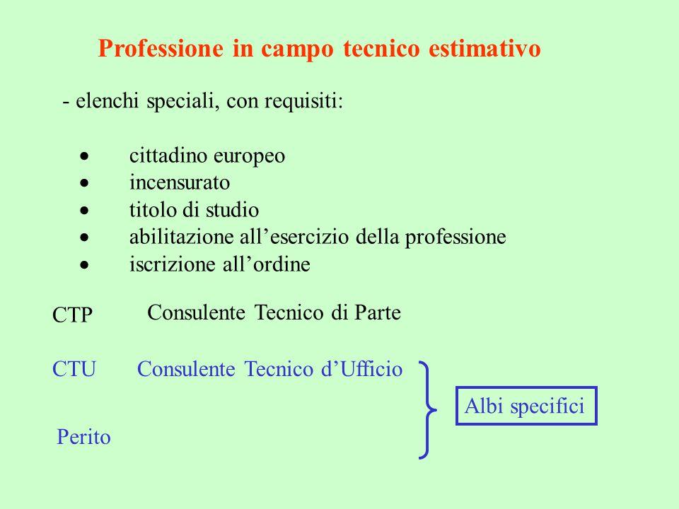 Professione in campo tecnico estimativo - elenchi speciali, con requisiti:  cittadino europeo  incensurato  titolo di studio  abilitazione all'ese