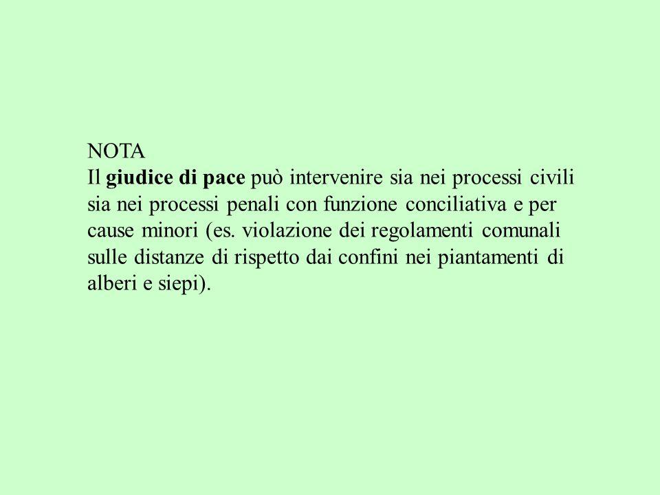 NOTA Il giudice di pace può intervenire sia nei processi civili sia nei processi penali con funzione conciliativa e per cause minori (es.