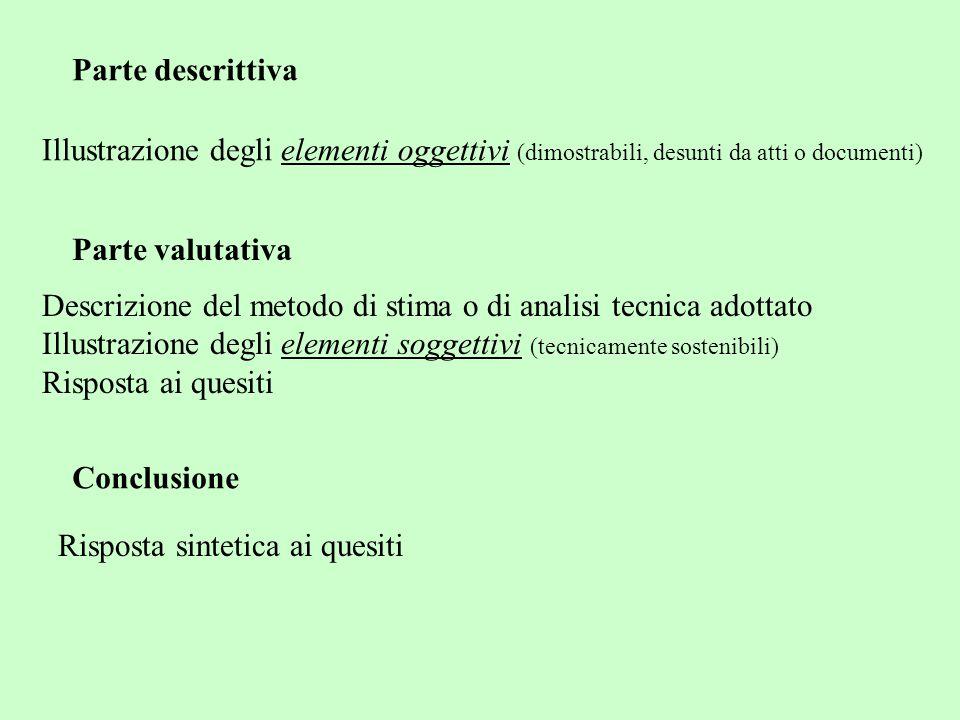 Parte descrittiva Illustrazione degli elementi oggettivi (dimostrabili, desunti da atti o documenti) Conclusione Risposta sintetica ai quesiti Parte v