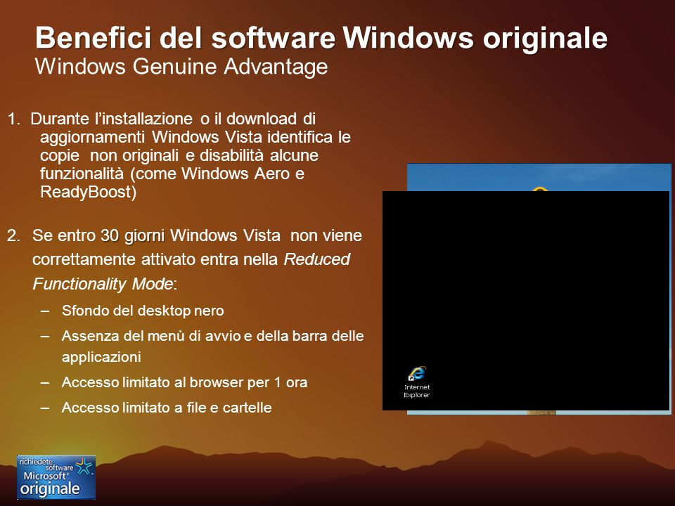 Benefici del software Windows originale Benefici del software Windows originale Windows Genuine Advantage 1.