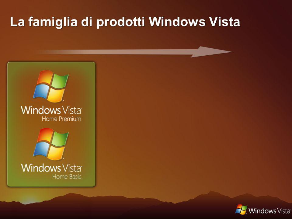 Versione dedicata al mondo consumer: Nuova interfaccia Windows Vista Basic Funzionalità di ricerca e nuove modalità per organizzare le informazioni Sicurezza e affidabilità Controllo genitori