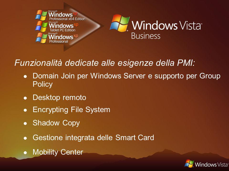 Funzionalità focalizzate sulle necessità della media e grande impresa: Sicurezza: Windows BitLocker Compatibilità: 4 istanze di macchine virtuali Windows Fundamentals for Legacy PCs Supporto: Multilanguage User Interface