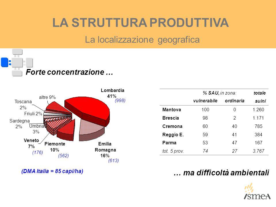 La localizzazione geografica LA STRUTTURA PRODUTTIVA % SAU, in zona:totale vulnerabileordinaria suini Mantova10001.260 Brescia9821.171 Cremona6040785