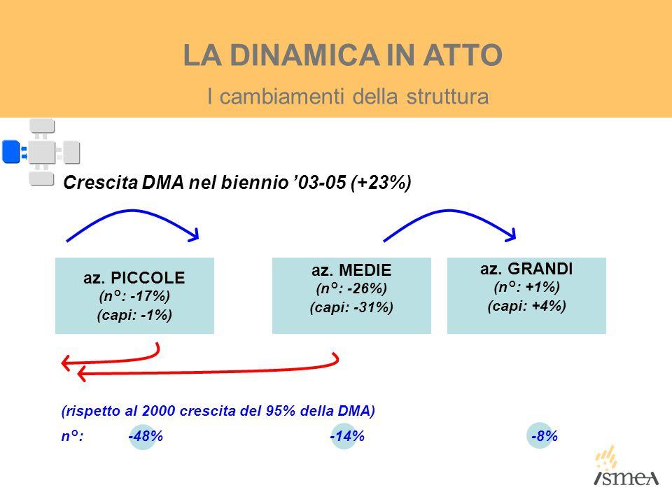I cambiamenti della struttura LA DINAMICA IN ATTO az. PICCOLE (n°: -17%) (capi: -1%) az. MEDIE (n°: -26%) (capi: -31%) az. GRANDI (n°: +1%) (capi: +4%