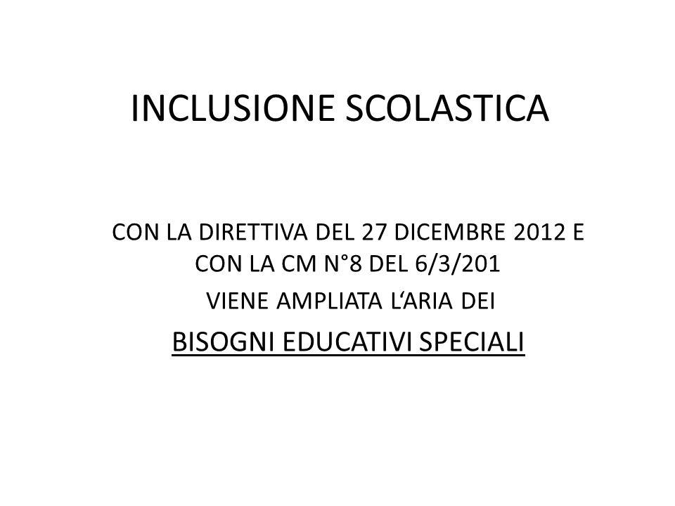 INCLUSIONE SCOLASTICA CON LA DIRETTIVA DEL 27 DICEMBRE 2012 E CON LA CM N°8 DEL 6/3/201 VIENE AMPLIATA L'ARIA DEI BISOGNI EDUCATIVI SPECIALI