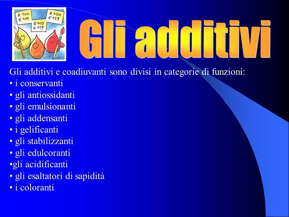 Gli additivi e coadiuvanti sono divisi in categorie di funzioni: i conservanti gli antiossidanti gli emulsionanti gli addensanti i gelificanti gli stabilizzanti gli edulcoranti gli acidificanti gli esaltatori di sapidità i coloranti