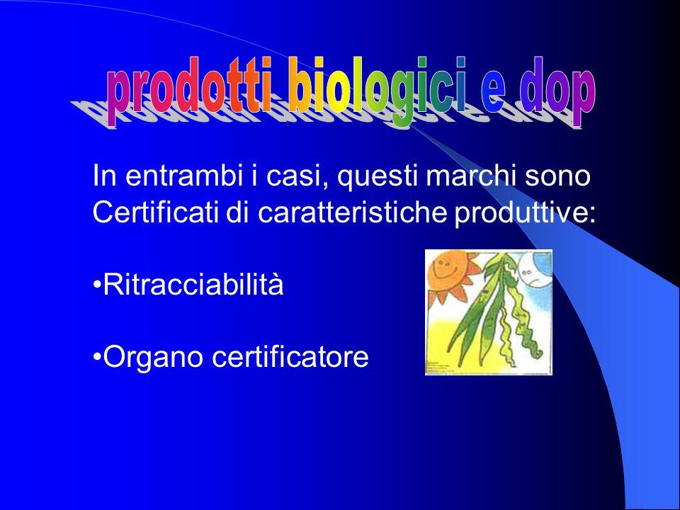 In entrambi i casi, questi marchi sono Certificati di caratteristiche produttive: Ritracciabilità Organo certificatore