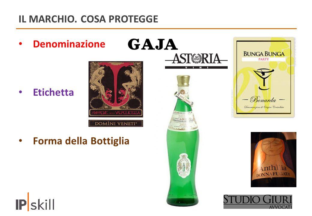 IL MARCHIO. COSA PROTEGGE Denominazione Etichetta Forma della Bottiglia