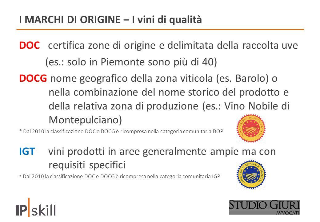 I MARCHI DI ORIGINE – I vini di qualità DOC certifica zone di origine e delimitata della raccolta uve (es.: solo in Piemonte sono più di 40) DOCG nome geografico della zona viticola (es.
