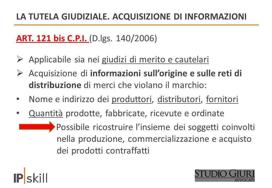 LA TUTELA GIUDIZIALE.ACQUISIZIONE DI INFORMAZIONI ART.