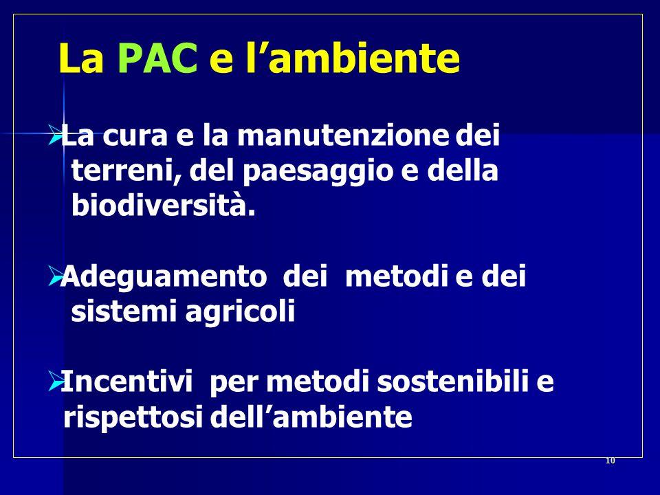  La PAC e l'ambiente  La cura e la manutenzione dei terreni, del paesaggio e della biodiversità.