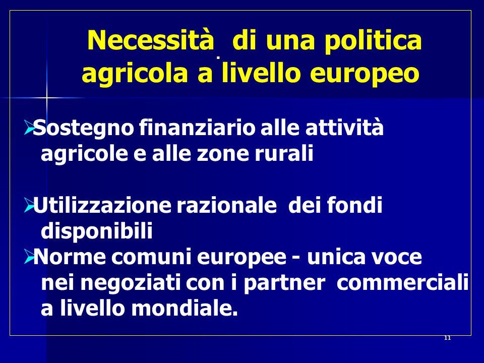  Necessità di una politica agricola a livello europeo  Sostegno finanziario alle attività agricole e alle zone rurali  Utilizzazione razionale dei fondi disponibili  Norme comuni europee - unica voce nei negoziati con i partner commerciali a livello mondiale.