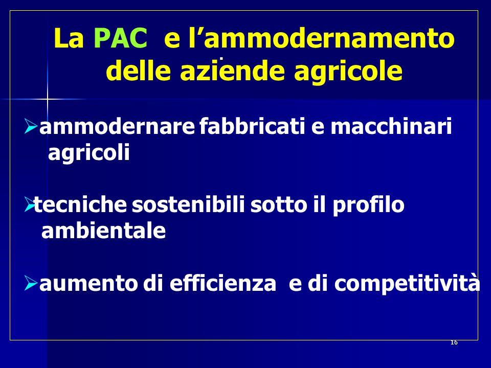  La PAC e l'ammodernamento delle aziende agricole  ammodernare fabbricati e macchinari agricoli  tecniche sostenibili sotto il profilo ambientale  aumento di efficienza e di competitività 16