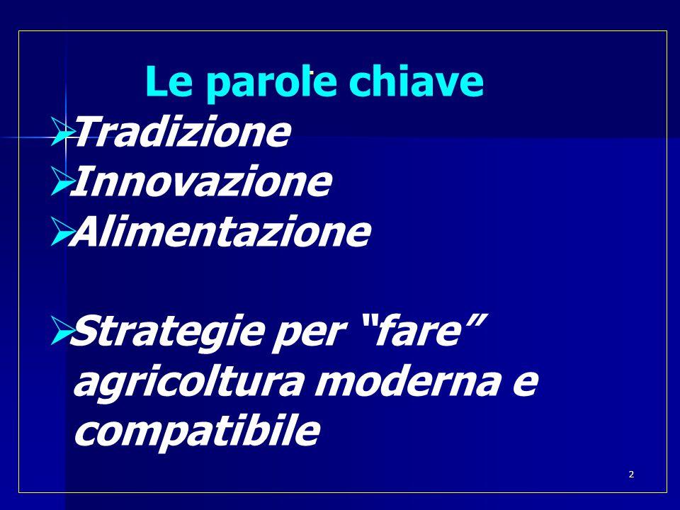  Le parole chiave  Tradizione  Innovazione  Alimentazione  Strategie per fare agricoltura moderna e compatibile 2