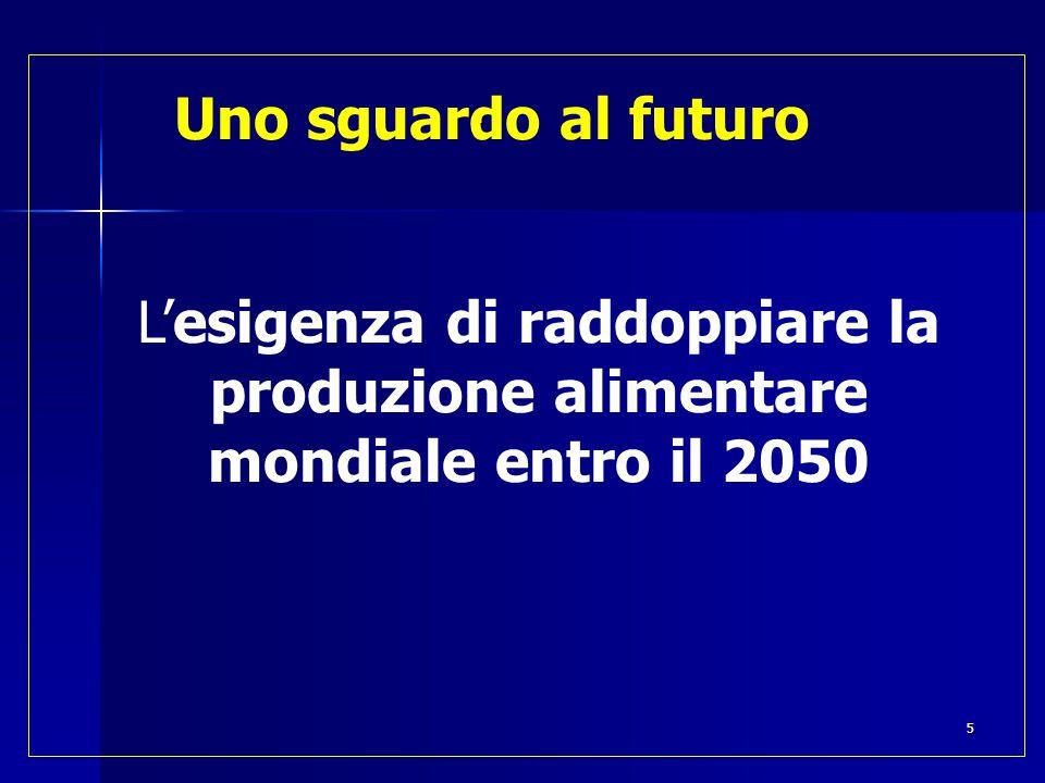 Uno sguardo al futuro L'esigenza di raddoppiare la produzione alimentare mondiale entro il 2050 5