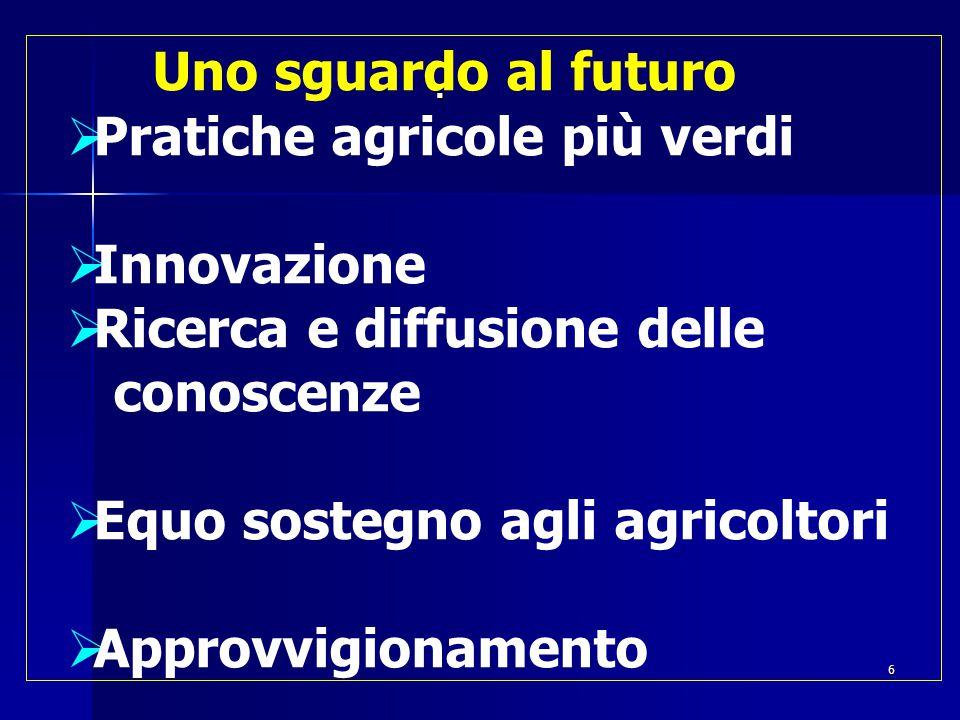  Uno sguardo al futuro  Pratiche agricole più verdi  Innovazione  Ricerca e diffusione delle conoscenze  Equo sostegno agli agricoltori  Approvvigionamento 6