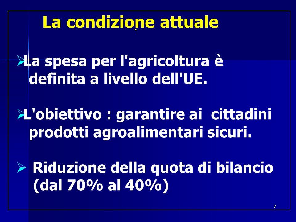  La condizione attuale  La spesa per l agricoltura è definita a livello dell UE.