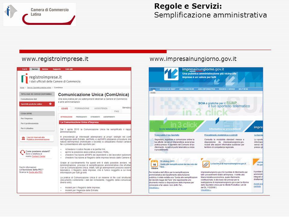 Regole e Servizi: Semplificazione amministrativa www.registroimprese.it www.impresainungiorno.gov.it