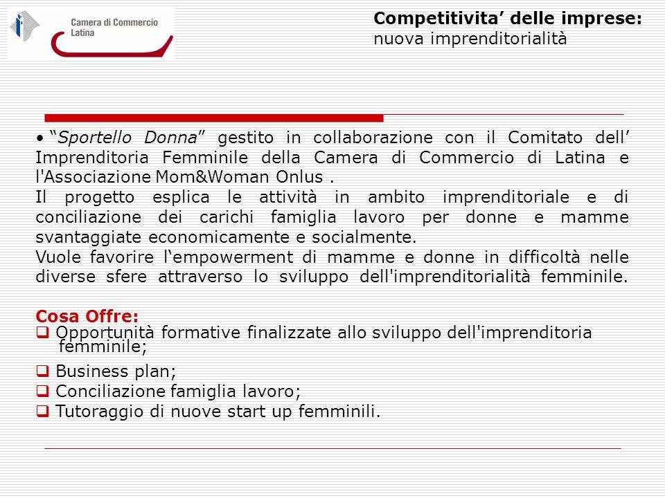 Competitivita' delle imprese: nuova imprenditorialità Sportello Donna gestito in collaborazione con il Comitato dell' Imprenditoria Femminile della Camera di Commercio di Latina e l Associazione Mom&Woman Onlus.