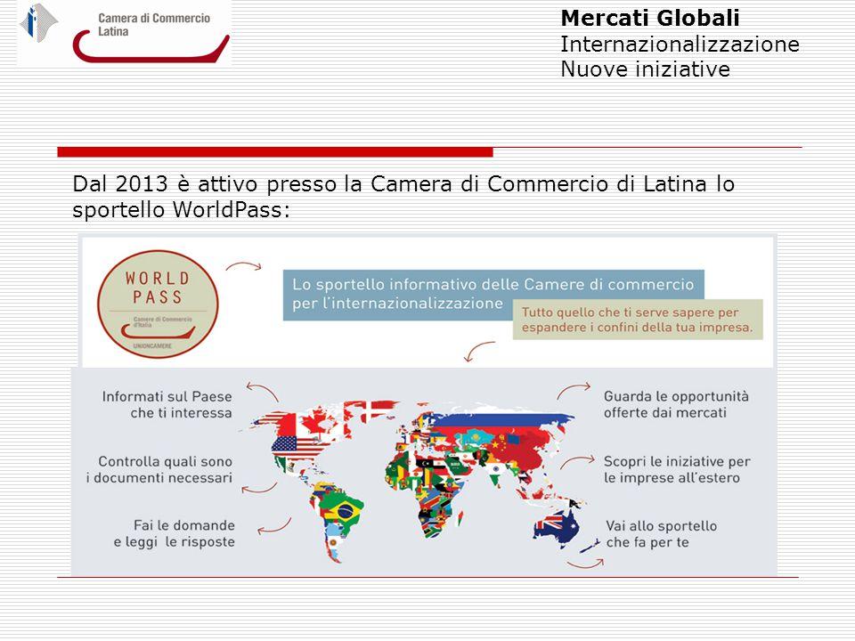 Mercati Globali Internazionalizzazione Nuove iniziative Dal 2013 è attivo presso la Camera di Commercio di Latina lo sportello WorldPass: