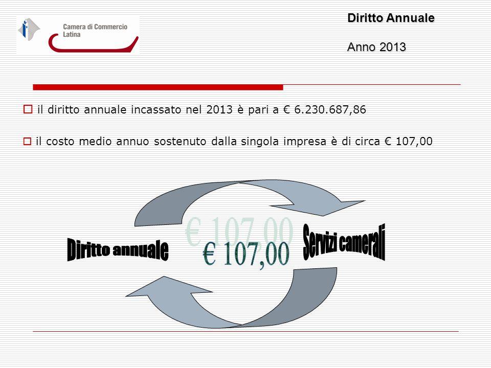  il diritto annuale incassato nel 2013 è pari a € 6.230.687,86  il costo medio annuo sostenuto dalla singola impresa è di circa € 107,00 Diritto Annuale Anno 2013