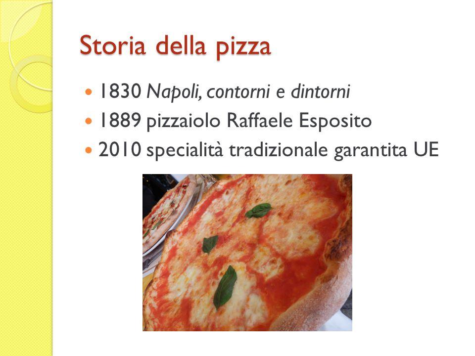 Storia della pizza 1830 Napoli, contorni e dintorni 1889 pizzaiolo Raffaele Esposito 2010 specialità tradizionale garantita UE