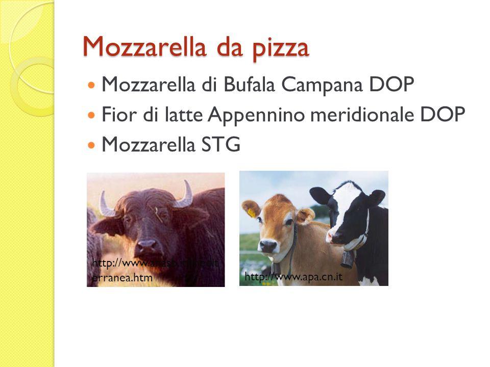 Fiore di margherita Mozzarella di bufala % Mozzarella % acqua5662 grasso2518 proteine1518 sali42 http://it.wikipedia.org