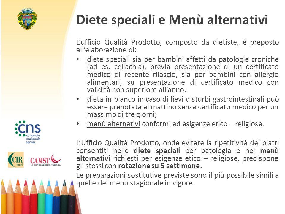 Diete speciali e Menù alternativi L'ufficio Qualità Prodotto, composto da dietiste, è preposto all'elaborazione di: diete speciali sia per bambini affetti da patologie croniche (ad es.
