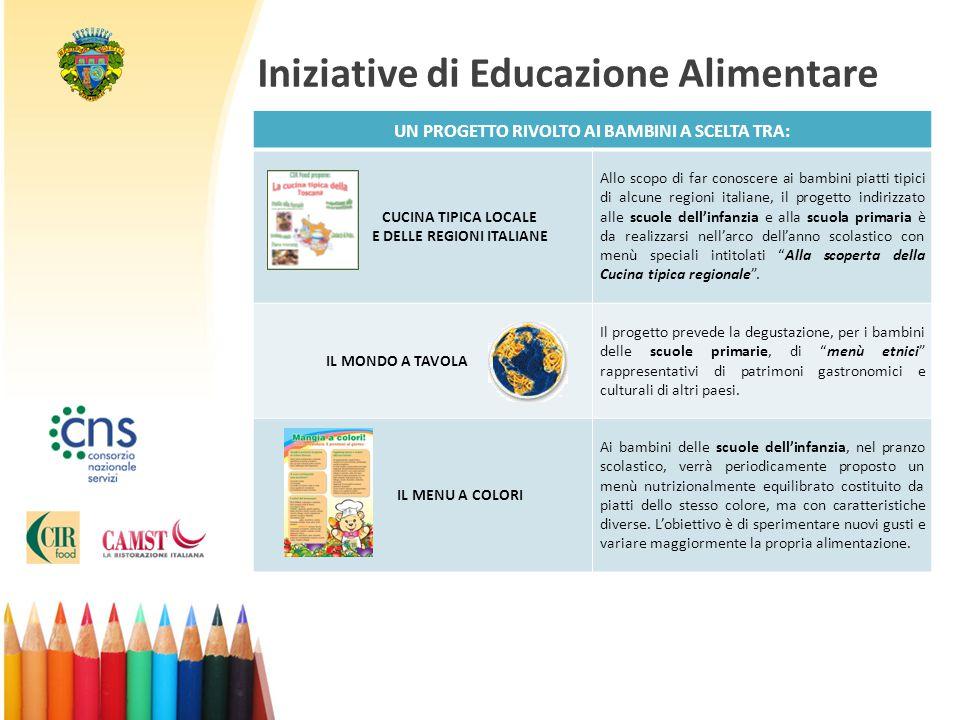 Iniziative di Educazione Alimentare UN PROGETTO RIVOLTO AI BAMBINI A SCELTA TRA: CUCINA TIPICA LOCALE E DELLE REGIONI ITALIANE Allo scopo di far conos
