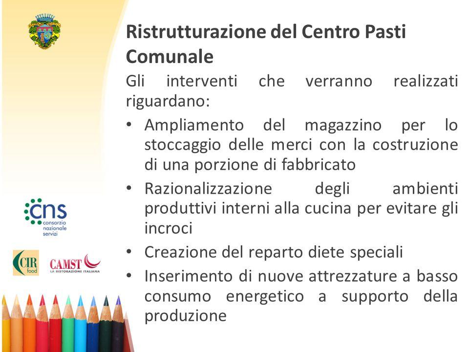 Ristrutturazione del Centro Pasti Comunale Gli interventi che verranno realizzati riguardano: Ampliamento del magazzino per lo stoccaggio delle merci
