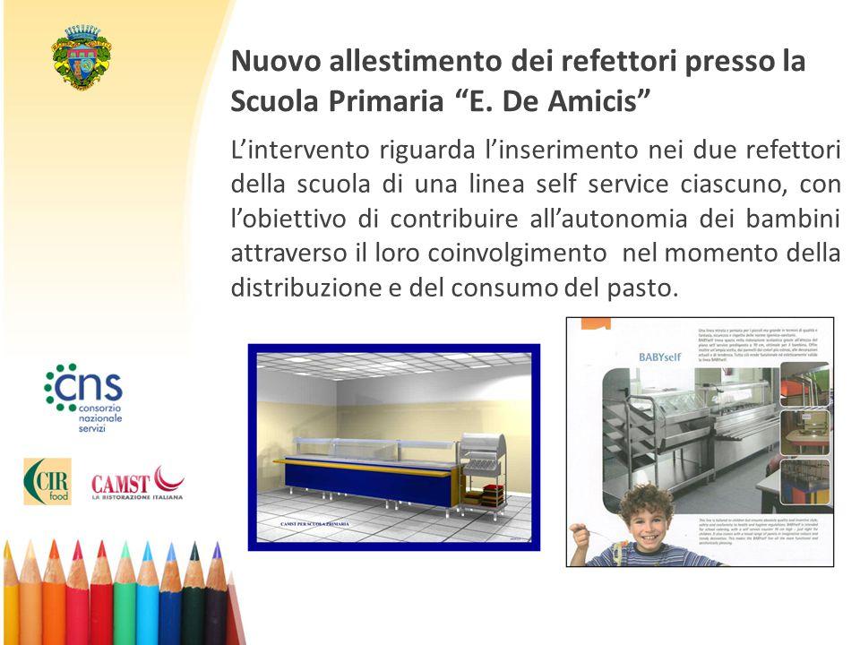 """Nuovo allestimento dei refettori presso la Scuola Primaria """"E. De Amicis"""" L'intervento riguarda l'inserimento nei due refettori della scuola di una li"""