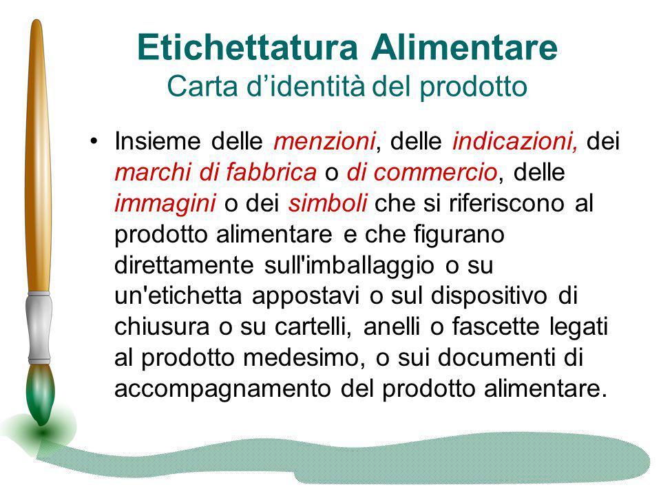Etichettatura Alimentare Carta d'identità del prodotto Insieme delle menzioni, delle indicazioni, dei marchi di fabbrica o di commercio, delle immagin