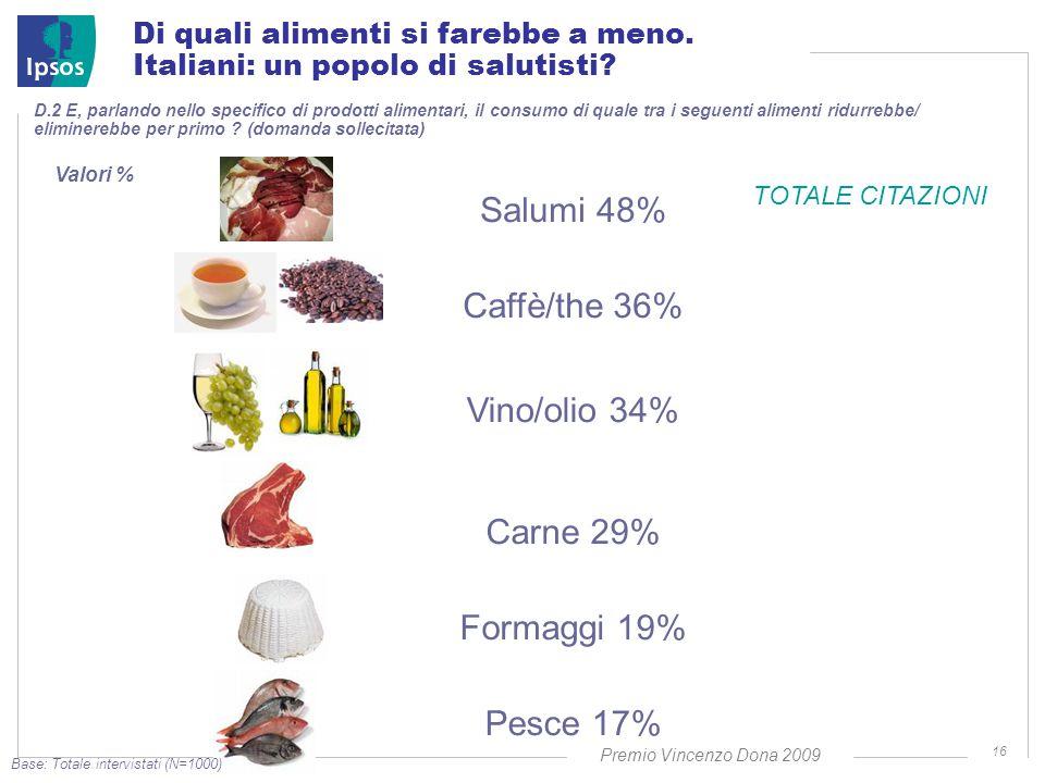 Premio Vincenzo Dona 2009 16 D.2 E, parlando nello specifico di prodotti alimentari, il consumo di quale tra i seguenti alimenti ridurrebbe/ eliminerebbe per primo .