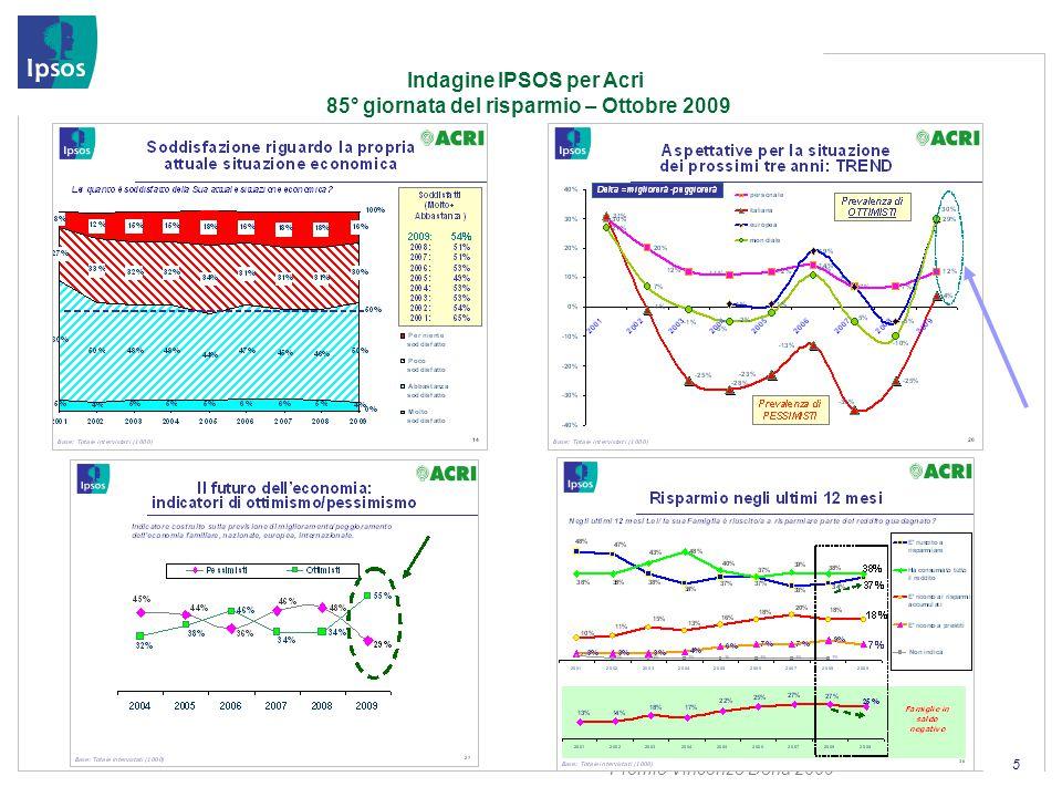 Premio Vincenzo Dona 2009 5 Indagine IPSOS per Acri 85° giornata del risparmio – Ottobre 2009