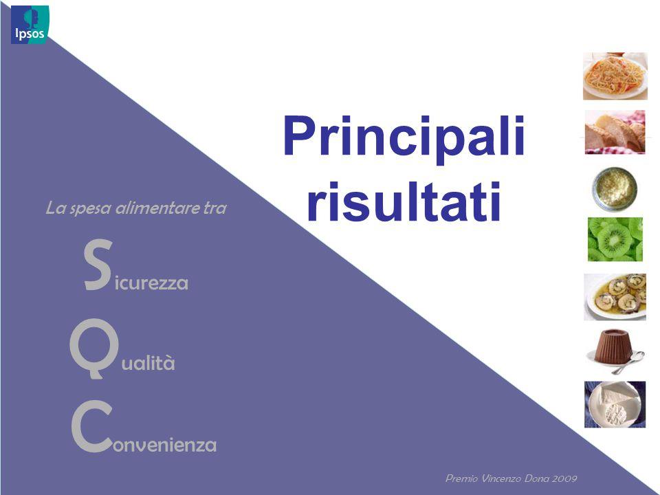 Premio Vincenzo Dona 2009 27 L'importanza del made in Italy per i prodotti alimentari non si discute, anche se non per tutti D.8 In una scala da 1 a 10, dove 1 significa poco importante e 10 molto importante, quanto è importante che i seguenti prodotti siano di origine italiana.