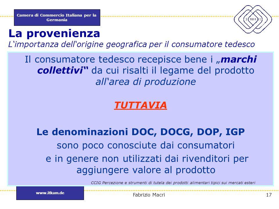 Camera di Commercio Italiana per la Germania www.itkam.de 17Fabrizio Macrì La provenienza L'importanza dell'origine geografica per il consumatore tede