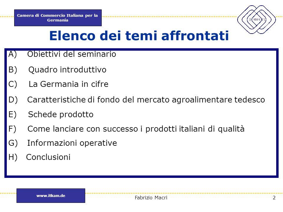 Camera di Commercio Italiana per la Germania www.itkam.de 2Fabrizio Macrì Elenco dei temi affrontati A)Obiettivi del seminario B) Quadro introduttivo