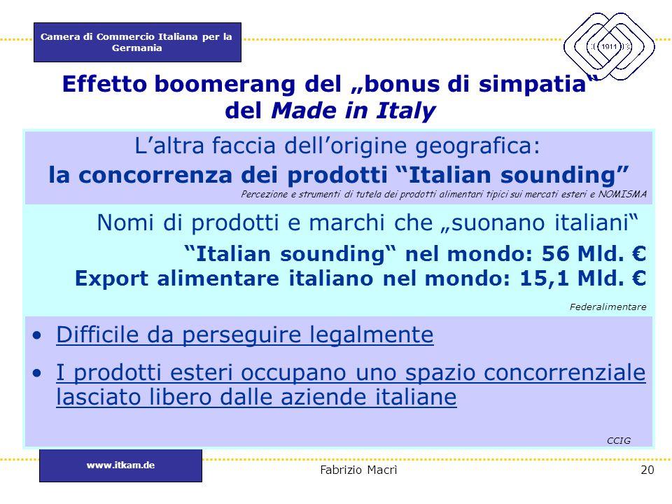 """Camera di Commercio Italiana per la Germania www.itkam.de 20Fabrizio Macrì Effetto boomerang del """"bonus di simpatia"""" del Made in Italy L'altra faccia"""